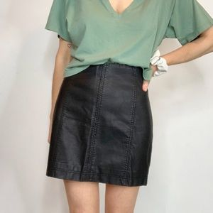 FREE PEOPLE vegan leather mini skirt high waist